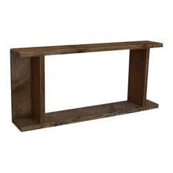 Shadow Box Style Wall Shelf From Repurposed Wood 23X10X4 - Lots of room in the center,flanked by 2 smaller shelf spaces, make this a great display shelf.