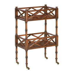 Butler - Charming Plantation Cherry Wood Mobile Server - Update your home decor with this elegant mobile server table made with a warm Plantation Cherry finish and featuring a lovely inlay design. The two-level table has ample storage space for books and other decor accents.