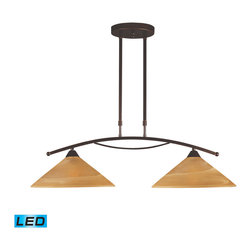 Elk Lighting - Elysburg LED 2-Light Island Light in Tea Swirl Glass - The geometric lines of this collection offer harmonious symmetry with a sophisticated contemporary appeal. A perfect complement for kitchens, billiard parlors, or any area that requires direct lighting. Featured in satin nickel with white marbleized glass or aged bronze finish with tea stained brown swirl glass. - LED, 800 lumens (1600 lumens total) with full scale dimming range, 60 watt (120 watt total)equivalent, 120V replaceable LED bulb included.