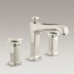 KOHLER - KOHLER Margaux(R) deck-mount bath faucet trim for high-flow valve with diverter - Blending traditional design with contemporary accents, Margaux faucets and accessories are an ideal complement to any modern bathroom. This bath faucet trim embodies Margaux's minimalist style with its fluid silhouette and sleek, ergonomic cross handles. The trim also features a diverter knob for redirecting water to a showerhead. Pair this trim with high-flow ceramic disc valves with diverter for optimal performance.