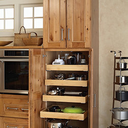 Roll Out Tray Cabinet - The smart way to get access to hard to reach areas in a cabinet space. Ideal for pots, pans and small appliances.