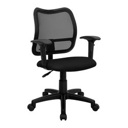 Flash Furniture - Flash Furniture Mid-Back Mesh Task Chair with Black Fabric Seat and Arms - If you're in need of a comfortable chair with a breathable mesh back this is the chair. The modern design of the back will add a contemporary look to your office space. This chair is height adjustable to adapt to your working environment and the Height adjustable arms allow you to adjust to your comfort level. [WL-A277-BK-A-GG]