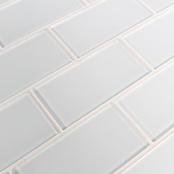 "Rocky Point Tile - Snow White 3"" x 6"" Glass Subway Tiles, 10 Square Feet - A cool bright white glass subway tile perfect for a kitchen or bathroom in need of a bright finish. These tiles come loose packed giving you the option to arrange them in the pattern of your choice. Each tile is back painted and has a high gloss finish."