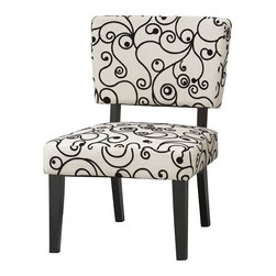 Linon - Linon Taylor Accent Chair with Black and White Circles - Linon - Accent Chairs - 36080BWC01KDU - Vintage meets modern in this superbly comfortable upholstered chair. Substantial, durable padding and a sturdy hardwood frame for long lasting utilization make this chair an excellent choice to spruce up any room in your home. This chair will surely add an air of sophistication and elegance to virtually any home decor. Accent chairs are an excellent and functional and artistic addition to your living room, bedroom, or den. The rich black finish frame is complimented by the stunning white and black fabric of this chair that is sure to be a staple in your home for years to come.
