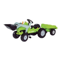 Big Jimmy Loader Tractor with Trailer Pedal Riding Toy - Fun surrounds you on the Big Jimmy Loader Tractor with Trailer Pedal Riding Toy. A real working front-loader raises with one handle and swivels with the other. On the back is a matching trailer for hauling. Dust-protected precision chain drive and genuine Ackermann steering provide a realistic experience. Seat is adjustable to fit kids 3 and up. There's a trailer coupling on front and rear for realistic play. Made of strong ABS plastic. Assembles easily. Kids love tractors. About Big Toys USABig Toys USA is an exclusive U.S. distributor for high quality ride-on toys from Spain Germany China and Italy along with a complete line of American-made rideable toys. Bigs Toys represents Fisher Price Power Wheels Big Injusa Kid Trax Mini Motos Feber NPL Evo Powerboards and Toys Toys. Big Toys focuses is on quality safety value and most of all Big Fun.