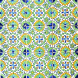 "Hand Painted 4"" x 4"" Decorative Ceramic Tiles - Beautiful hand painted decorative ceramic tile. Fatima Green Design. Ceramic tiles are sold by the square foot, 9 tiles per square foot is 1 order. Tile size is 4 inch x 4 inch x 0.25 inch thick. Hand painted in Tunisia, a southern Mediterranean country. Tiles are fired twice between 500-600 degrees in a ceramic oven. Ceramic tiles are very colorful with a glossy finish. Easy set up and Heavy duty. For indoor and outdoor use. Ceramic tiles are scratch resistant, also water and fade resistant. Contact Seller for large order discounts and Custom tile work. Ref; CCP021"
