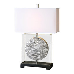David Frisch - David Frisch Taratoare Contemporary Table Lamp X-1-18162 - Reptile pattern finished in metallic silver accented with polished nickel plated details and a black foot. The rectangle hardback shade is a silken off-white linen fabric.