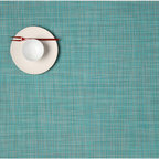 Chilewich - Chilewich Rectangle Mini Basket weave Placemat - Turquoise, Set of Four - Supernatural: The charm of these elegant placemats relies on the timeless attraction of simply woven natural fibers. The super part? It's vinyl. So cleaning comes down to a flash of soap and water. And if that makes you look like a dining table diva, so be it.