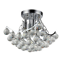 Warehouse of Tiffany - Bowl Crystal Chandelier - Add some elegance to your home with the Bowl crystal chandelier. This dynamic lighting element features generous rows of crystals to catch the light. Setting: IndoorsFixture finish: ChromeMaterials: CrystalNumber of lights: One (1)Requires one (1) 60-watt bulb (not included)Dimensions: 11 inches high x 11 inches wide x 11 inches deepThis fixture does need to be hard wired. Professional installation is recommended.CSA Listed, ETL Listed, UL Listed