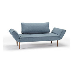 Innovation USA - Innovation USA Zeal Deluxe Daybed - Dark Wood Legs - Mixed Dance Light Blue - 28 - The small multifunctional resting place in your home was designed as a homage to the great mid-century design era of furniture design.