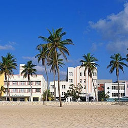 Magic Murals - Miami South Beach Panorama Wall Mural -- Self-Adhesive Wallpaper by MagicMurals - Panoramic view of the art deco architecture that lines Miami's South Beach district in the sunshine filled state of Florida.  Palm trees and sandy beach dominates the foreground.