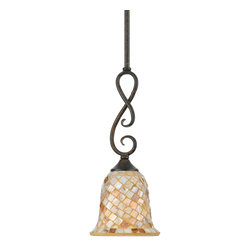 Quoizel - Quoizel MY1506ML Monterey Mosaic 1 Light Mini Pendants in Malaga - Long Description: The lovely mosaic design on the glass shades is made from genuine pen shell, bringing the beauty of nature into your home. The playful curls of the metal body add a whimsical element to the overall style. Its looks as wonderful in a beach house as it does in a modern loft.