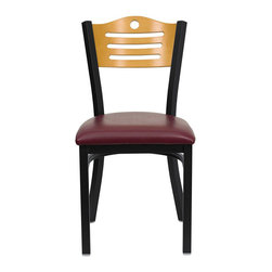Flash Furniture - Flash Furniture Hercules Series Black Slat Back Chair in Burgundy - Flash Furniture - Dining Chairs - XUDG6G7BSLATBURVGG - Provide your customers with the ultimate dining experience by offering great food service and attractive furnishings. This heavy duty commercial metal chair is ideal for Restaurants Hotels Bars Lounges and in the Home. Whether you are setting up a new facility or in need of a upgrade this attractive chair will complement any environment. This metal chair is lightweight and will make it easy to move around. For added comfort this chair is comfortably padded in vinyl upholstery. This easy to clean chair will complement any environment to fill the void in your decor. [XU-DG-6G7B-SLAT-BURV-GG]