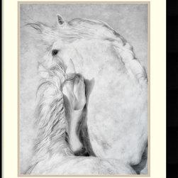 Amanti Art - Phyllis Bruchett 'Duel' Framed Art Print 26 x 32-inch - Horse art