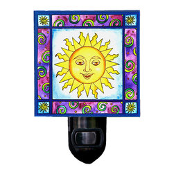 Sun Night Light - Our smiling Sun night light will brighten any room. It is made of a print of original painting which is sandwiched in between two layers of durable acrylic. The light is UL approved and comes with a standard four watt night light bulb. Gift box included. Made in the USA. (Be sure to look for our sun-themed wall clock, alarm clock and celestial magnets, too!)