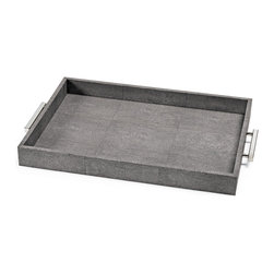 Kathy Kuo Home - Hapuna Charcoal Shagreen Silver Rectangle Tray - Covered in a gorgeous, charcoal shaded, cruelty-free faux stingray shagreen, this rectangular tray is so attractive, so perfect, you'll want to display your finest perfumes, decanters, or aperitifs on it.  Or, if everyday luxury is your style, serve a special someone breakfast in bed!