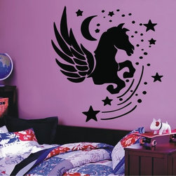 StickONmania - Night Horse Sticker - A fantasy horse for your child's wall. Decorate your home with original vinyl decals made to order in our shop located in the USA. We only use the best equipment and materials to guarantee the everlasting quality of each vinyl sticker. Our original wall art design stickers are easy to apply on most flat surfaces, including slightly textured walls, windows, mirrors, or any smooth surface. Some wall decals may come in multiple pieces due to the size of the design, different sizes of most of our vinyl stickers are available, please message us for a quote. Interior wall decor stickers come with a MATTE finish that is easier to remove from painted surfaces but Exterior stickers for cars,  bathrooms and refrigerators come with a stickier GLOSSY finish that can also be used for exterior purposes. We DO NOT recommend using glossy finish stickers on walls. All of our Vinyl wall decals are removable but not re-positionable, simply peel and stick, no glue or chemicals needed. Our decals always come with instructions and if you order from Houzz we will always add a small thank you gift.