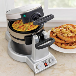 Waring Pro Breakfast Express Belgian Waffle & Omelet Maker - Come Christmas day, everyone is crunched for time. Make breakfast in a flash with this Breakfast Express that can bake thick Belgian waffles and omelets at the same time! It can also make a frittata, fried eggs and pancakes, so there will always be something for everyone.