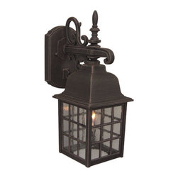 Exteriors by Craftmade - Grid Cage Rust Outdoor Wall Mount - - Grid Cage Wall Mount - Rust  - Glass Finish:Seeded  - Rated: Outdoor Wet  - Bulb Type:Medium Base  - Top to Outlet dimension: 4.5 Exteriors by Craftmade - Z270-07