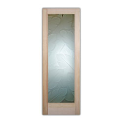 "Sans Soucie Art Glass (door frame material T.M. Cobb) - Interior Glass Door Sans Soucie Art Glass Banana Leaves 3D Private - Sans Soucie Art Glass Interior Door with Sandblast Etched Glass Design. GET THE PRIVACY YOU NEED WITHOUT BLOCKING LIGHT, thru beautiful works of etched glass art by Sans Soucie!  THIS GLASS PROVIDES 100% OBSCURITY.  (Photo is View from OUTside the room.)  Door material will be unfinished, ready for paint or stain.  Satin Nickel Hinges. Available in other wood species, hinge finishes and sizes!  As book door or prehung, or even glass only!  3/8"" thick Tempered Safety Glass.  Cleaning is the same as regular clear glass. Use glass cleaner and a soft cloth."
