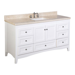 Kitchen Bath Collection - Abbey 60-in Single Sink Bath Vanity (Crema Marfil/White) - This bathroom vanity set by Kitchen Bath Collection includes a white Shaker-style cabinet with soft close drawers and self-closing door hinges, Spanish Crema Marfil marble countertop, single undermount ceramic sink, pop-up drain, and P-trap. Order now and we will include the pictured three-hole faucet and a matching backsplash as a free gift! All vanities come fully assembled by the manufacturer, with countertop & sink pre-installed.