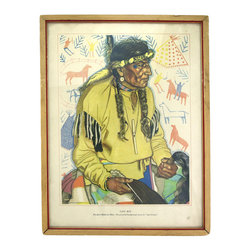 "Consigned ""Lazy Boy"" Great Northern Railroad Print - Classic offset lithograph from the Great Northern series of a figure titled ""Lazy Boy"" from the Blackfeet American Indian Tribe. Marked in the bottom left ""From original portrait by Winold Reiss, New York, Copyright Great Northern"" and ""Printed in U.S.A."" in the bottom right."