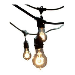 Bulbrite - String Light 48 Foot 15 Light Kit - String Light Kit 48 Foot includes 15 outdoor rated medium base 120 volt medium base sockets with 25 watt Nostalgic A-type medium base bulbs included and a 48 foot cord (14 AWG) with three foot spacing between each socket. Can connect up to four 48 foot string light kits up to a maximum total of 1500 watts per string. UL listed.