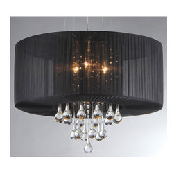 Warehouse of Tiffany - Ivan Crystal Chandelier - Add some elegance to your home with this chrome-finished black fabric Ivan crystal chandelier. This dynamic lighting element features generous rows of cascading crystals to catch the light.