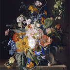 Flowers in a Vase with a Snail on a Ledge | Huysum | Canvas Print - Condition: Canvas Print - Unframed
