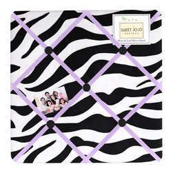 Sweet Jojo Designs - Purple Zebra Memo Board - The Purple Zebra Memo Board with button detail is a great way to display photos, notes, and postcards on your child's wall. Just slip your mementos behind the grosgrain ribbon to create an engaging piece of original wall art. This adorable memo board by Sweet Jojo Designs is the perfect accessory for the matching children's bedding set.