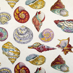 Seashell fabric nautilus tan toile - A seashell fabric with a very large scale indeed! There are scallops, nautilus, conchs, and many others. The background fabric is listed in the solid fabric category.
