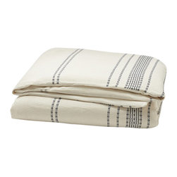 Coyuchi - Rippled Stripe Duvet Cover Full/Queen Ivory w/Black - Textural, dobby-woven stripes traverse soft, organic cotton to create a duvet cover that's vibrant yet versatile. Prewashed for softness, it'll look as relaxed and inviting years from now as it does today. Self-backed and finished with a simple knife-edge and coconut shell buttons. Inside ties.