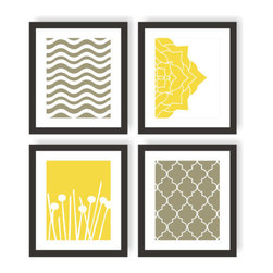 Modern living room art - Modern Art Prints in Yellow Gray - Wave Chevron, Gardenia Flower, Pom Poms, Moroccan, Modern Wall Decor - Set of 4 8x10