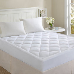 """Comfort Classics - Comfort Classics Microfiber Puffball Down Alternative Mattress Pad - """"For those who want the pillowtop mattress without the price, this 100% polyester microfiber pillow top mattress pad can give you that luxury without the expense. This mattress pad features puffball down alternative fill with diamond quilting stitching pattern with a 1.5"""""""" gusset to make your mattress the most comfortable one you've slept on in years. """" 100% polyester"""