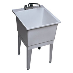 """Swanstone - Swanstone PT-1010 White Utility Tubs Polypropylene 22 Gallon Laundry - Polypropylene 22 Gallon Laundry Tub 22"""" W x 25"""" D When it's time to get busy, Swan's utility products and accessories are ready to go to work. Our selection of laundry tubs, service sinks and shower cabinets offer you solutions that are strong, practical and performance-minded. Swanstone PT-1 Features:  Molded-in drain and stopper Made of sturdy polypropylene Affordable utility One set of angular steel legs (4) 22 gallon capacity (83L)"""