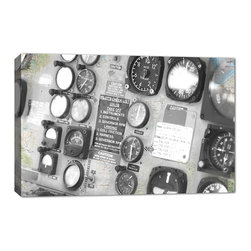 Doodlefish - Controls - The Aviator Collection of Vintage Military air plane photography from Doodlefish is perfect for a teen or tweens room. It would also be great for a basement space, playroom or office. This piece is a close up of the propellers of a US military plane and is available in16x24. The canvas printed artwork is gallery wrapped with areas of US maps showing through the image. Each piece can be hung in many combinations and orientations.