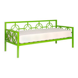 Medallion Organic Green Sofa Depth Daybed and Memory Foam Mattress - You could style this daybed with kelly green pillows to mix in different shades of green.