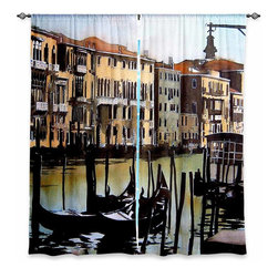 "DiaNoche Designs - Window Curtains Lined by Martin Taylor Views Over Venice - DiaNoche Designs works with artists from around the world to print their stunning works to many unique home decor items.  Purchasing window curtains just got easier and better! Create a designer look to any of your living spaces with our decorative and unique ""Lined Window Curtains."" Perfect for the living room, dining room or bedroom, these artistic curtains are an easy and inexpensive way to add color and style when decorating your home.  This is a woven poly material that filters outside light and creates a privacy barrier.  Each package includes two easy-to-hang, 3 inch diameter pole-pocket curtain panels.  The width listed is the total measurement of the two panels.  Curtain rod sold separately. Easy care, machine wash cold, tumble dry low, iron low if needed.  Printed in the USA."