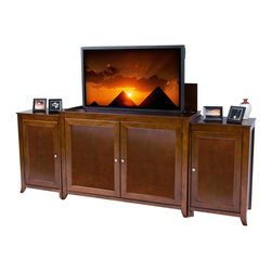 "Touchstone Home Products - Berkeley Mocha Cherry TV Lift Cabinet with side cabinets for Flat Screen TV - The Berkeley is clean and simple with an elegant mocha stain. It has the same finish as the Brookside lift cabinet. The Berkeley features interior shelf lighting and tons of room. The Berkeley accommodates most 60"" diagonal flat panel plasma and LCD TVs, measuring 105.5""W x 22.76""D x 41.5""H. Behind the front doors is ample storage space for your DVD movie & video game boxes. The cabinet is equipped with sliding rear panels for easy access to your TV connections."