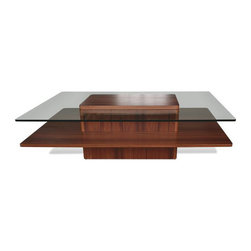 Jesper Office Furniture - 2000 Series Rectangle Wood/ Glass Coffee Table in Cherry - Features: