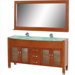 "Wyndham Collection - Wyndham Daytona Vanity Set - The Daytona 63"" Double Bathroom Vanity Set - a modern classic with elegant, contemporary lines. This beautiful centerpiece, made in solid, eco-friendly zero emissions wood, comes complete with mirror. From fully extending drawer glides and soft-close doors to the 3/4"" glass or marble counter, quality comes first, like all Wyndham Collection products. Doors are made with fully framed glass inserts, and back paneling is standard."