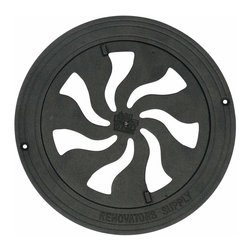Renovators Supply - Heat Registers Black Cast Aluminium Heat Register w/Logo RSF | 23292 - Registers: Control & SAVE on energy bills with our Exclusive Precision Airflow Regulator Mechanism. Infinitely adjustable louver assembly (damper box) let?s you control every room?s airflow while saving you money. Made of rustproof cast aluminum & treated with a baked-on powder coating for a luxurious black finish- each register is adorned with a Renovator?s Supply logo. Not recommended for walls or ceilings as the damper box does not lock in place. Measures 9 3/4 in. diameter.