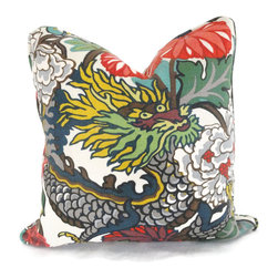 Pop O Color - Chiang Mai Dragon Pillow Covers, Alabaster, 22x22 - Add a Pop O Color to your decor with this pair of Chiang Mai Dragon pillow covers. If your room is in need of a statement piece this is it. This gorgeous heavy weight linen fabric has wonderful rich colors: reds, oranges, blues, greens and browns on an aquamarine background. It is one of Schumacher's new fabrics but its style will endure forever. Chiang Mai Dragon was originally derived from an exuberant 1920's Art Deco era block print. The pattern is table printed on a linen ground.