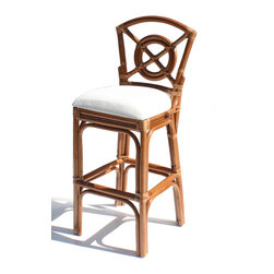 Wicker Paradise - Bulls Eye Rattan Bar Stool - This rattan bar stool is finished in a warm honey color and features an off-white fabric on the attached cushion. The Bulls Eye rattan stool features leather bindings for added durability. Only 1 left!