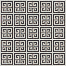 Black Greek Key Rug - We've been loving the recent Greek Key trend that just won't seem to quit. This classic design is repeated onto this gorgeous hand-loomed rug by Peruvian weavers.