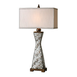 Uttermost - Consilina Shell Table Lamp - Unique and shapely, this sophisticated table lamp will add so much elegance to your decor. The base is inlayed with opalescent shells and features bronze accents. The stunning rectangle shade is crafted from silver taupe fabric and boasts a refined chocolate bronze trim. This is a lamp you'll love for years to come.
