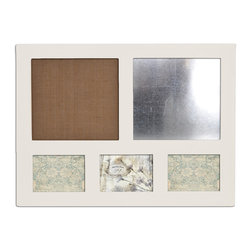 Enchante Accessories Inc - Distressed Wood Magnetic Steel Message Board & Burlap Bulletin Board (Ivory) - This message board features a distressed wooden framed burlap board / chalkboard combination, plus three openings for Photos. The other option is a Chalk Board and steel board combination.