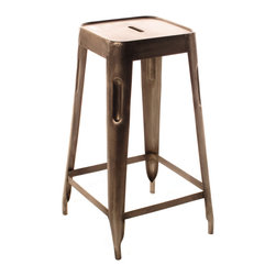 Kathy Kuo Home - Ironworks Industrial Loft Aged Nickel Counter Stool - This ironworks counter stool is the smaller, but just as mighty, sibling of the bar stool. Its lower height allows you to conveniently slide it under your polished concrete kitchen island when you're through with dinner. These nickel finished stools are also a perfect seating option for a draftsman's work table.