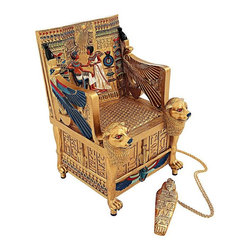 EttansPalace - King Tut Golden Throne Treasure Box - This scaled replica of King Tutankhamen' s golden throne looks very much like the original chair discovered by Howard Carter in 1922 except that its exclusive secret is a hidden treasure box revealed when you lift the seat! Cast in quality designer resin and hand-painted in a rich Egyptian palette. This is just the right size for a shelf, a tabletop or as a mystical gift!