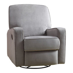 PRI - PRI Sutton Swivel Glider Recliner Stella Zen Grey - PRI - Gliders & Rockers - DS912006177 -   Our recliners offer outstanding comfort and styling. Soft easy to clean   fabric cover is over a solid plywood frame for durability. Padded   backs arms and sides make our recliners a step above the rest. Lever   recline mechanism is attached to an all metal reclining mechanism that   is smooth and easy to operate.